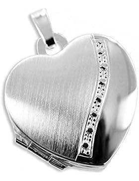 Herz Medaillon 925 Silber zum öffnen für Bildereinlage/ 2 Fotos
