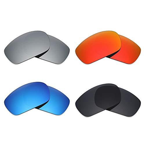 MRY 4Paar Polarisierte Ersatz Gläser für Oakley Jawbone sunglasses-stealth schwarz/fire rot/ice blau/silber titan