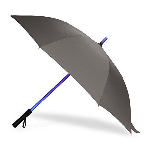 LED Regenschirm im Laserschwert-Design Schwarz Star Wars Schirm mit 7 Farben und Integrierter Taschenlampe (Grau 1) - Taschenlampe Laser-griff