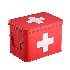 Harima Medizin-Box | Erste Hilfe Set aus Metall und Doppelschicht-Stauraum | Erste Hilfe Kasten