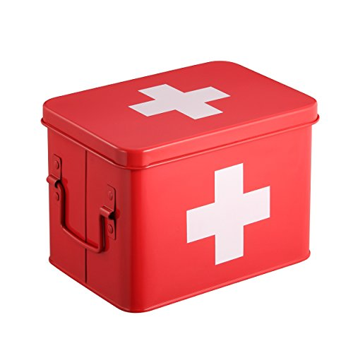 Caja Botiquín | Kit De Primeros Auxilios Metálico Rojo | 4 Compartimentos De Almacenamiento De Doble Capa | 21.5 x 15 x 16 cm | HARIMA