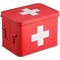 Rot Medizin-Box | Erste Hilfe Set aus Metall und Doppelschicht-Stauraum, 4 Fächer | Erste Hilfe Kasten | 21.5... preisvergleich bei billige-tabletten.eu