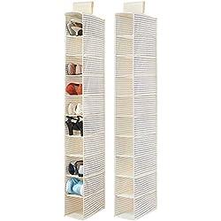 mDesign (lot de 2) étagère à chaussures – rangement suspendu pour chaussures avec 10 casiers – étagère à suspendre pour un rangement parfait des portefeuilles, sacs ou chaussures – beige et bleu