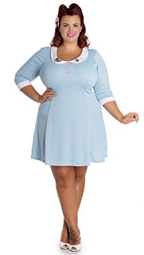 Hell Bunny BEEBEE Collar Polka Dots Punkte Retro DRESS Shirtkleid Plus Size Rock Himmelblau mit weißen Dots