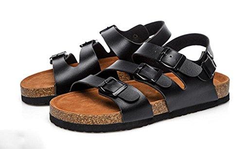Couples liège pantoufles glisser sandales d'été des femmes et des pantoufles Black