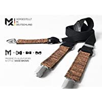 Made in Germany | Bretelle MAY-TIE | nero | sughero | 2.5cm | Y-shape | regolabile | Style: Wood Brown | Accessori per Uomo, Matrimonio, Anniversario, Compleanno