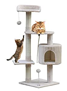 Callas RioAndMe Cat Tree Toy with 4 Platforms Rope and Scratching Post (Beige, 44 Inches , Cat4711W)
