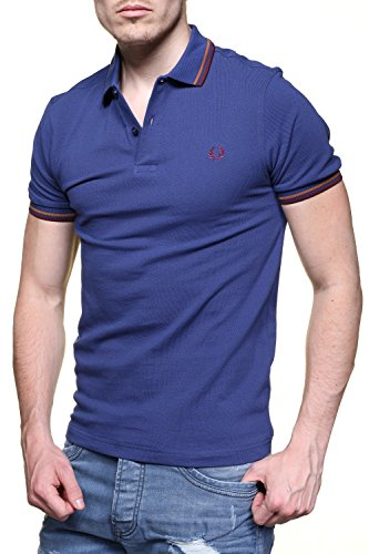 Fred Perry Herren Slim Fit Twin Tipped Polo Shirt Pazifik Pacific Blue