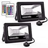 Novostella 2 Pack 15W LED RGB Flood Light DEKRA Tested, Coloured Floodlight