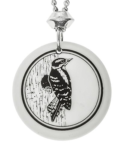 handmade-downy-woodpecker-totem-round-shaped-porcelain-pendant-18-4-inch-extender-chain