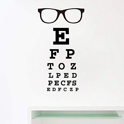 WSYYW Brille Augendiagramm Buchstaben Kunst Wandaufkleber Aufkleber Augenärzte Optische Gläser Schaufensterdekoration Wandaufkleber Hausgarten Hellgrau 56x33 cm