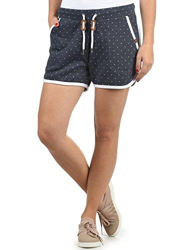 BlendShe Sanya Damen Sweatshorts Bermuda Shorts Kurze Hose Mit Fleece-Innenseite Und Punkte-Print Regular Fit, Größe:M, Farbe:Navy (70230)