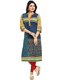 Color Petal Printed Designer Cotton Long Kurti Tunic Top For Women