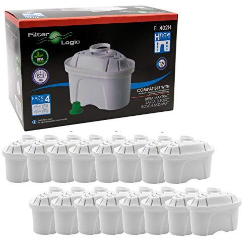 FilterLogic FL402H - 16 unidades - cartucho de filtro compatible con BRITA ® Maxtra ® para Elemaris / Marella / Navelia / fill & enjoy Fun - Bosch , Siemens Tassimo jarra filtrante - 100486 - 1009696