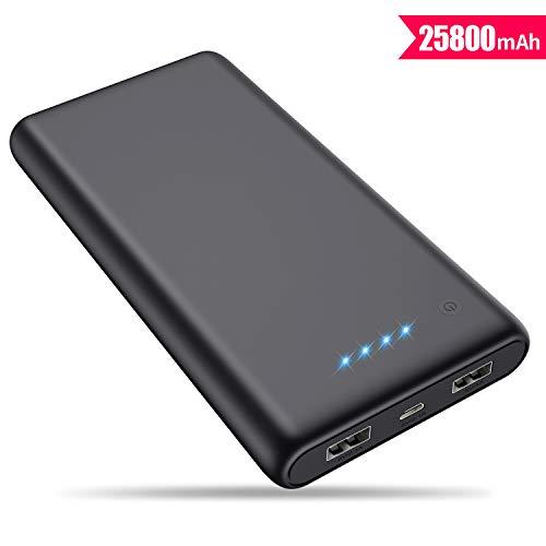 VOOE Batterie Externe [Haute Capacité 25800mAh] Chargeur Portable Batterie de Secours Power Bank 2 Ports USB Sortie Haute Vitesse Batterie Compatible avec Smartphones Tablettes et Tous USB Via Device