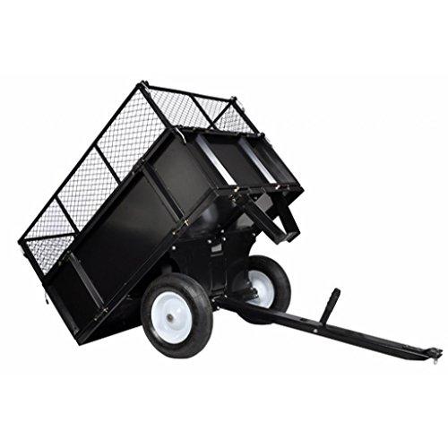 Anself Anhänger für Aufsitzmäher Rasentraktor mit Gitter und Seitenwänden Kippbar 300 kg