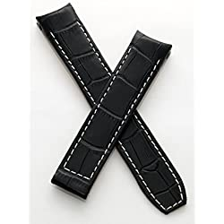 "WATCH STRAP WORLD 20 mm black leather crocodile-effect deployment type strap with white stitching to fit Baume & Mercier Capeland ""S"" models"