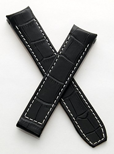 watch-strap-world-20-mm-black-leather-crocodile-effect-deployment-type-strap-with-white-stitching-to