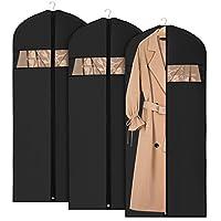 Univivi Garment Bags Suit Bag for Storage and Travel 60 inch, Anti-Moth Protector, Foldable Washable Suit Cover for Dresses, Suits, Coats, Set of 3 (60cm*152cm)