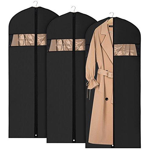 Höhere Qualität Kostüm - Univivi Kleidersack Suit Tasche für Reise und Aufbewahrung 152,4 cm, Anti-Motten-Displayschutzfolie, waschbar Kleidersack für Kleider, Anzüge, Mäntel, Set von 3