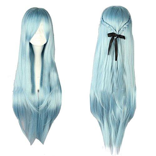 Halloween Kostüm Sword Art Online SAO Asuna Yuuki Cosplay Perücke Wig Lange Gerade Licht Blue Haar (Asuna Kostüm Sao)