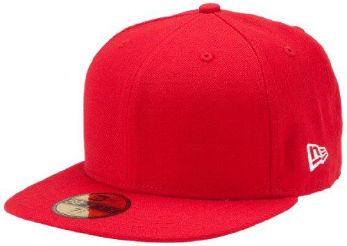New Era Blanks 59FIFTY Schlichte Baseballkappe, einfarbig, Herren, Basic Cap, Red - Scarlet