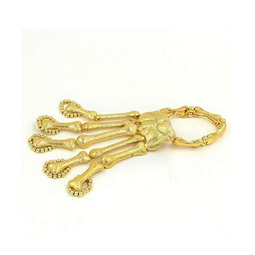 Longzhuo Maskerade Kreative Schmuck Skelett Finger Kette Armband Halloween Punk Geist Knochen (Gold)