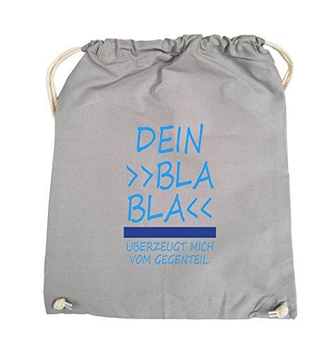 Borse Comiche - Il Tuo Bla Bla Bla Mi Convince Dallopposto. - Borsa Girevole - 37x46cm - Colore: Nero / Bianco-neon Verde Chiaro Grigio / Azzurro-blu Reale