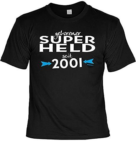 Sprüche Jungs Tshirt 16 Geburtstag - Geschenk 16 Jahre : geborener Super Held seit 2001 -- Geburtstagsshirt 16 Gr: