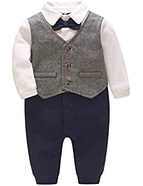DecStore Baby Jungen Krawatte Gentleman Spielanzug Overall Overalls Spielanzug Formell Outfit
