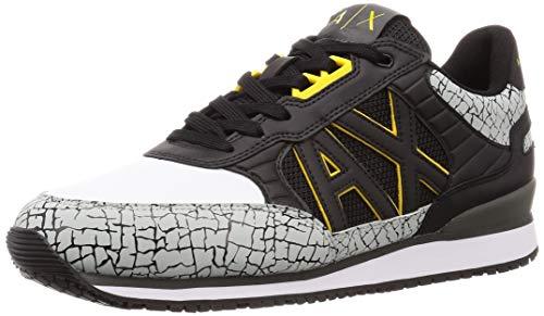 A X Armani Exchange Herren Retro Running Sneaker Turnschuh, schwarz/weiß, 43 EU