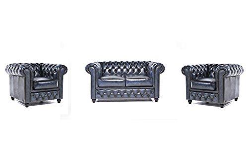 Original Chesterfield Sofas und Sessel – 1 / 1 / 2 Sitzer – Vollständig Handgewaschenes Leder – Antik Blau
