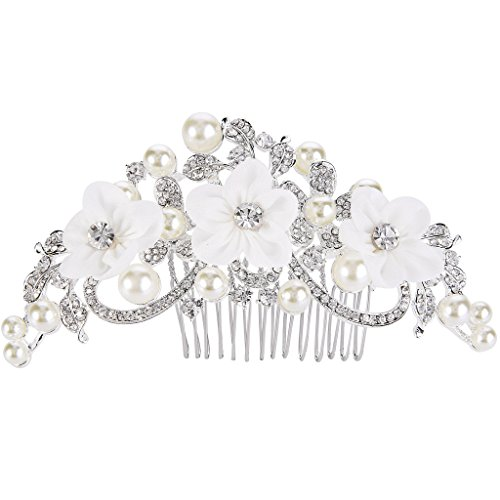 EleQueen Women's Silver-tone Crystal Simulated Pearl Flower Art Deco Bridal Hand-made Hair Comb Clear