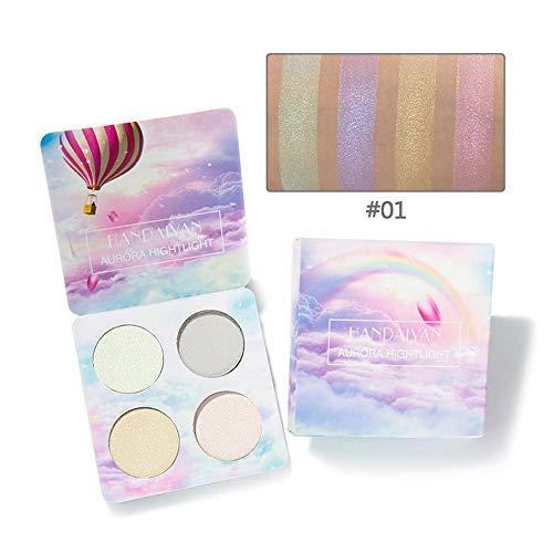 Xiton 4 colores Sombras de Ojos maquillaje del unicornio Iluminador en polvo del reflejo de bronceadores profesionales contorno de sombra de ojos en polvo cosmético kit,conjunto de 1(1)