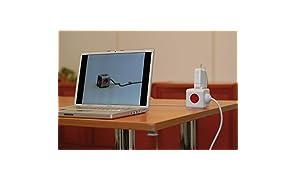 Allocacoc PowerCube Extended - Ladrón multiple y alargador de 1,5 m con 5 enchufes/tomas de corriente en forma de cubo, Rojo
