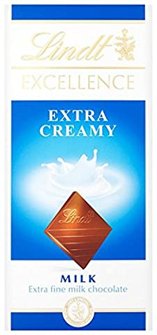 Lindt Excellence Extra Creamy Milk Chocolate Bar, 100 g - Pack of 5
