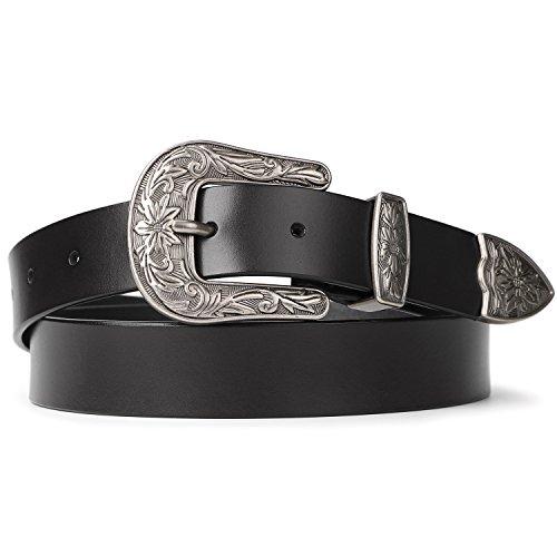 SUOSDEY Schwarze Gürtel für Frauen Vintage Ledergürtel für Jeans Anzughose mit Retro-Metallschnalle Gürtel