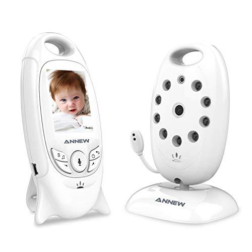 ANNEW Baby Monitor con Videocamera Video Audio Monitor Sensore di temperatura Night Vision Lullaby Talk a due vie (VB601-EU)