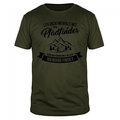FabTee Leg Dich Niemals mit Einem Pfadfinder An Denn Wir Kennen Orte Wo Dich Niemand Findet - Herren Organic Cotton T-Shirt - Verschiedene Farben - Größen S-3XL, Größe:M;Farbe:Oliv (Jugend-natur-t-shirts)