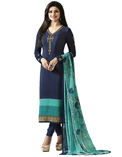 Shopper Pick Women's Crepe Salwar Suit Set (Sp-Silk10-6093_Blue_Free Size)