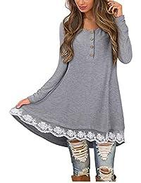 Mujer blusa vestido otoño,Sonnena ❤️ Vestido de blusa de manga larga casual mujer otoño O-cuello con botón color sólido camiseta de encaje Blusa Tops