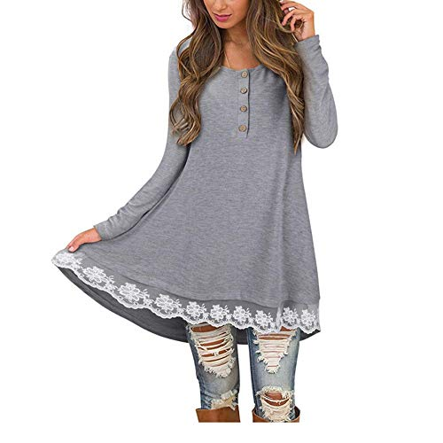 FORH Kleider Damen Klassisch Langarm Minikleid Chic Patchwork O-Ausschnitt Pullover Sweatshirt Herbst Kleid Longshirt Pullikleid AsymmetrischT-Shirt Bluse Mode Partykleid (S, Grau)