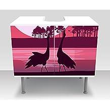 Badunterschrank bagno guardaroba Vista romantica con sagome di aironi design M0999armadietto di vanità | Front & lati incollando