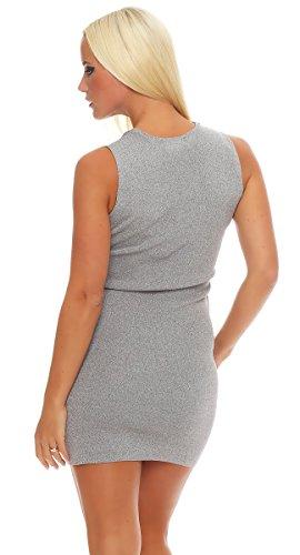 5729 Fashion4Young Damen Strickkleid Minikleid LongPullover Feinstrick ärmellos Gr. 36/38 Kleid Grau