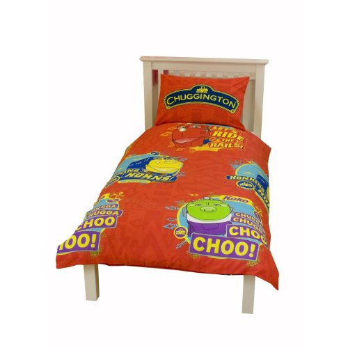 Image of Childrens Boys Chuggington Single Duvet Cover Bedding Set (Single Bed) (Red)