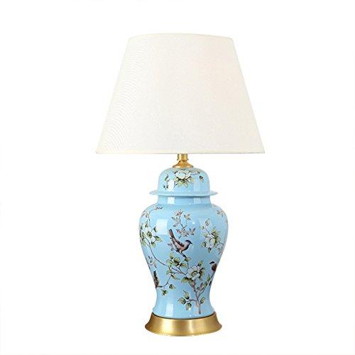 Große Keramik Kupfer Tischleuchte Gold Paint Finish mit Stoff Schatten, chinesische Blume und Vogel Malerei Stil Nachttischlampe ( Farbe : Blau-Straight edge-Schalter ) (Farbe Straight Edge)