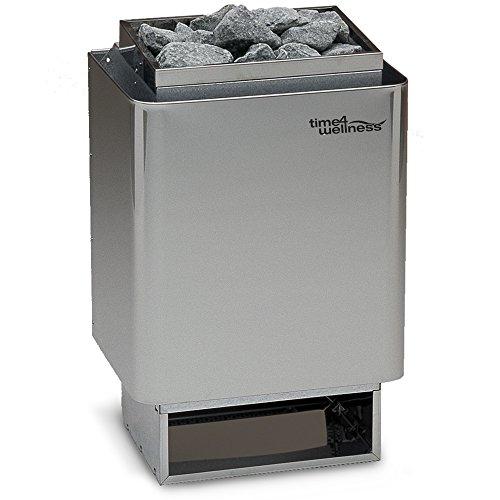 Saunaofen EOS 34A 9,0 kW, Außenmantel Edelstahl, Wandausführung, mit Saunasteine