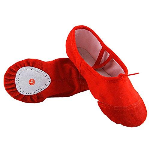 Lanlan Ballett Hausschuhe für Mädchen Kinder Ballett Dance Dancing Shoes Punkte Weich Wohnungen Yoga Schuhe Bequem Atmungsaktiv Hausschuhe, rot (Ballet Leopard Schuhe)