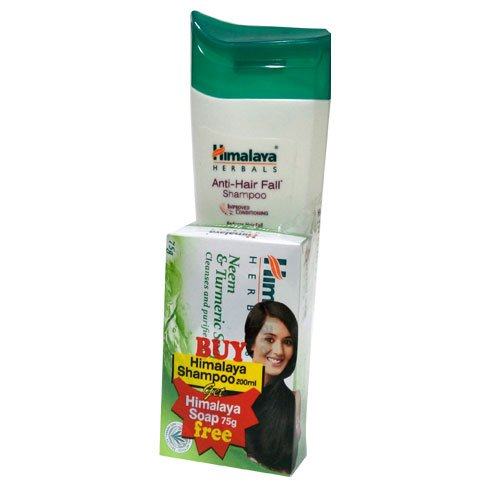 Himalaya Herbals Anti-Hair Fall Shampoo 200ml + Get Neem and Turmeric Soap, 75g Free  available at amazon for Rs.126
