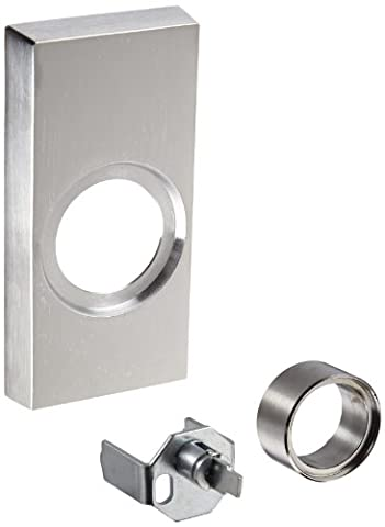 Detex Value Series Keyed Cylinder Night Latch Trim, Wide Stile Mounting Plate, Brushed Chrome Finish by Detex